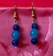 Chinese Blue Jade Stone Earrings with Sky Blue Jade Bead Trim