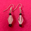 Quartz Crystal Earrings with Black Onyx Bead Trim