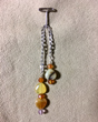 African Yellow OpalPendulum with Carnelian & Amethyst Trim