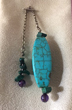 TURQUOISE River Rock & Chinese, Pendulum with Amethyst Trim