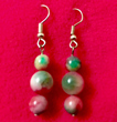 Chinese Pink & Green Jade Stone Earrings